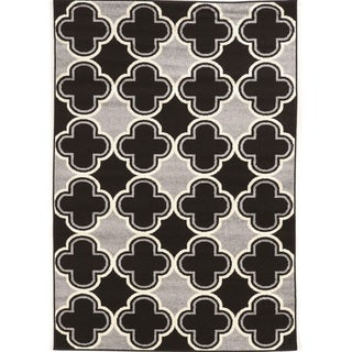 Power Loomed Claremont Quatrefoil Black/Grey Polypropylene Rug (8' X 10')