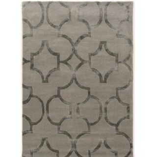 Hand Tufted Aspire GEO Grey Wool Rug (5' X 8')