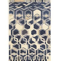 Hand Tufted Aspire Impose Ivory/Navy Wool Rug (5' x 8')