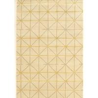 Hand Tufted Aspire Pane Ivory/Grey Wool Rug (5' X 8')