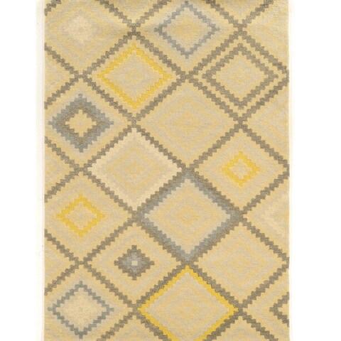 Hand Tufted Aspire Stitch Nat/Grey Wool Rug (5' x 8') - 5' x 8'