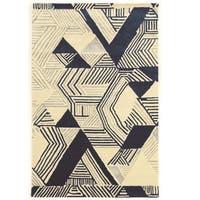 Hand Tufted Aspire Hatch Ivory/Navy Wool Rug (5' x 8')