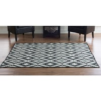 Woven Salonika Jagged Diamonds Grey Wool Rug (5' X 8') - 5