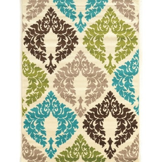 Power Loomed Claremont Damask Blue/Creme Polypropylene Rug (5' X 7')