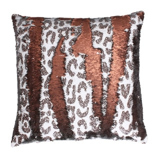 Thro by Marlo Lorenz Cenny Cheetah Reversible Sequin Feather Filled Throw Pillow
