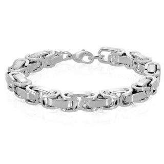 Crucible Men's Polished Stainless Steel Byzantine Chain Bracelet - 8.5 inches (8.5mm Wide)
