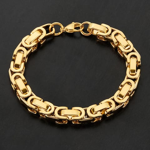 Crucible Stainless Steel Byzantine Chain Bracelet - 8.5 inches