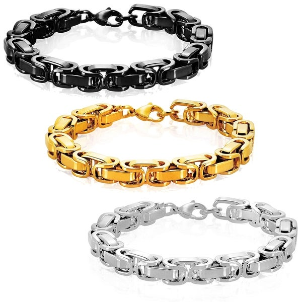 74c659cf57402 Shop Crucible Stainless Steel Byzantine Chain Bracelet - 8.5 inches ...