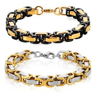 Crucible Men's Two Tone Polished Stainless Steel Byzantine Chain Bracelet - 8.5 inches (8.5mm Wide)