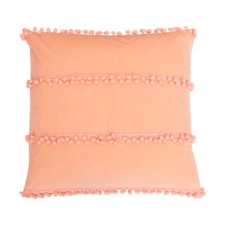 Thro by Marlo Lorenz Petrina Coral Feather-filled Pom Pom Throw Pillow