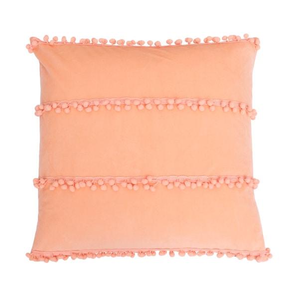 Thro by Marlo Lorenz Petrina Coral Feather-filled Pom Pom Throw Pillow