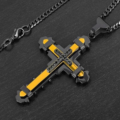 Crucible Stainless Steel Cubic Zirconia Cross Pendant Necklace - Black