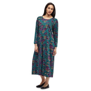 La Cera Women's Green/Blue Cotton Knit Printed Dress