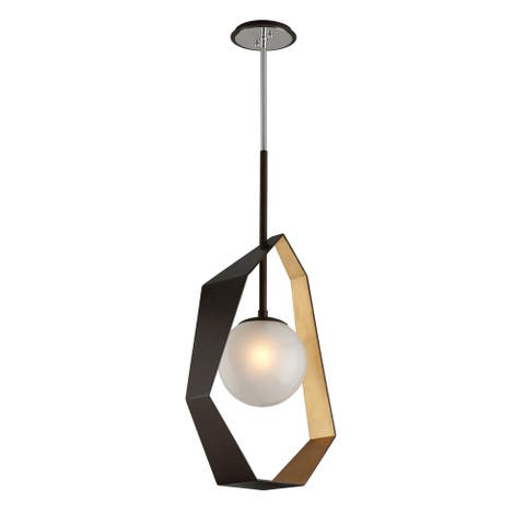 Origami 17-inch LED Bronze with Gold Leaf Pendant