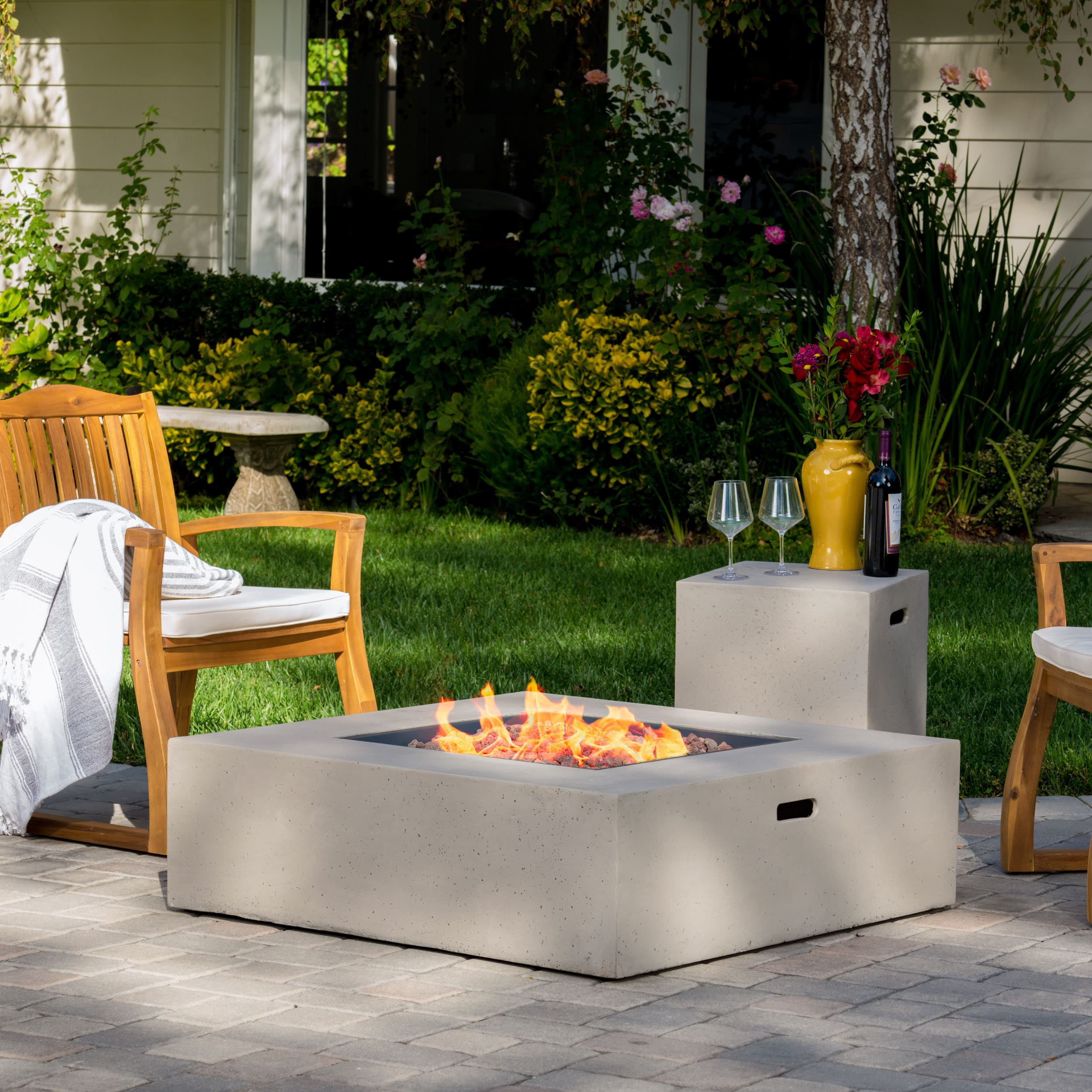 Picture of: Santos Outdoor 40 Inch Square Propane Fire Pit Table W Tank Holder By Christopher Knight Home On Sale Overstock 13181732