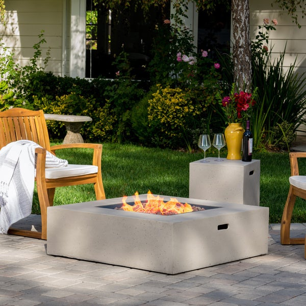 Santos Outdoor 40 Inch Square Propane Fire Pit Table W/ Tank Holder By  Christopher