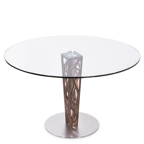5704e2b4e994 Armen Living Crystal Brushed Stainless Steel-finished Grey Walnut Veneer  Column Glass-