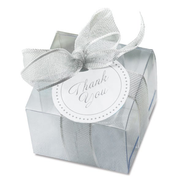 Clear Paper Favor Box With Silver Ribbon 50 Count