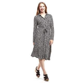 La Cera Women's Multicolor Polyester and Spandex Long-sleeve Collared Shirt Dress