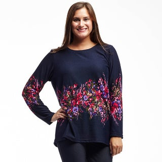 La Cera Women's Blue Polyester and Spandex Long-sleeved Printed Top