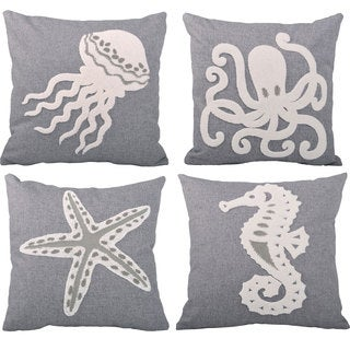 Serenta Sea World 4-piece Embroidery Throw Pillow Set