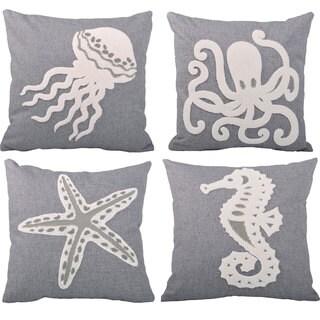 Serenta Sea World 4-piece Embroidery Throw Pillow Set