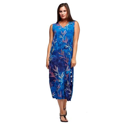 La Cera Women's Blue Rayon V-neck Sleeveless Dress