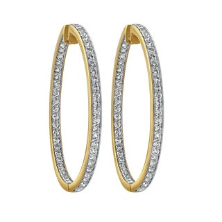 Beverly Hills Charm 14K Yellow Gold 2ct TDW Diamonds Inside out Hoop Earrings