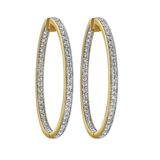 Beverly Hills Charm 14K Yellow Gold 2ct TDW Diamonds Inside out Hoop Earrings (H-I, SI2-I1)