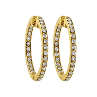 Beverly Hills Charm 14K Yellow Gold 1ct TDW Diamonds Inside out Hoop Earrings (H-I, SI2-I1)