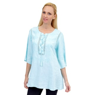 La Cera Women's Linen 3/4 Sleeve V-neck Embroidered Tunic Top