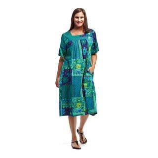 La Cera Women's Teal Cotton Short-sleeve Square Neck Lounger