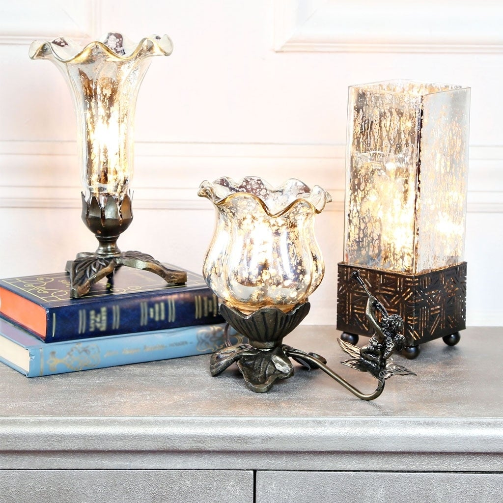 River Of Goods Silver Mercury Glass Table Lamps (Set of 3...