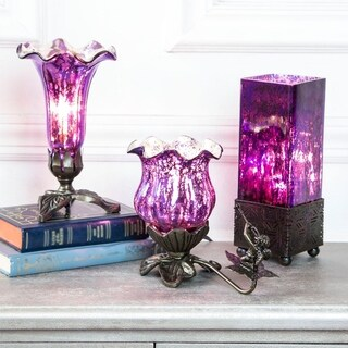 River of Goods Purple Glass Table Lamps (Set of 3)