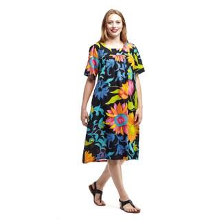 La Cera Women's Short Sleeve Square Neck Lounger
