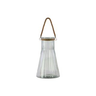 Urban Trends Collection Clear Glass Achromatic Flask-shaped Candle Holder with Rope Hanger