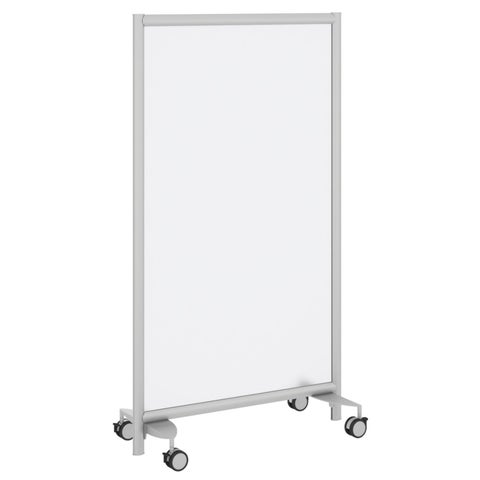Bush Business Furniture Freestanding Frosted Acrylic Screen with Wheeled Base - Silver