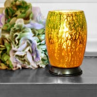 River of Goods Handblown Mercury Green Amber Glass 5.8-inch Votive Uplight Accent Lamp
