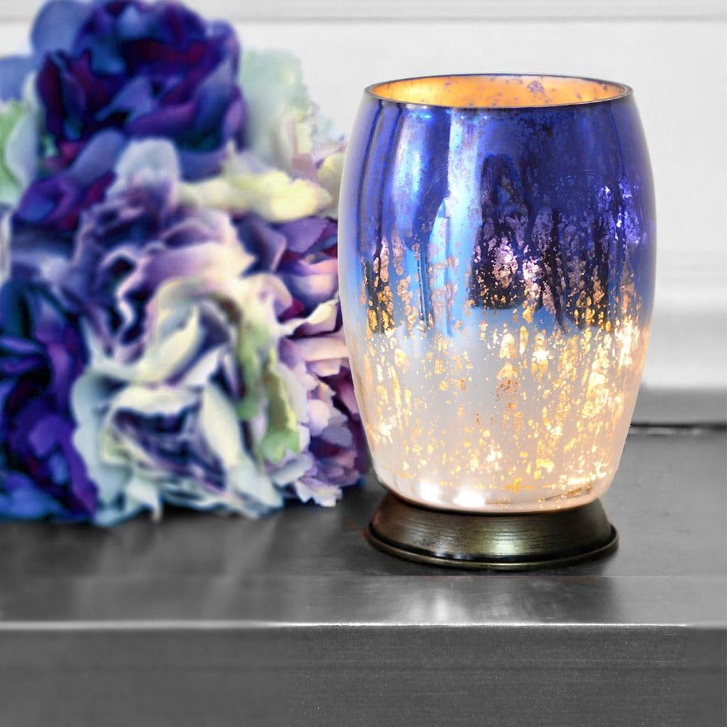 River Of Goods Handblown Blue/Silver Mercury Glass 5.8-in...