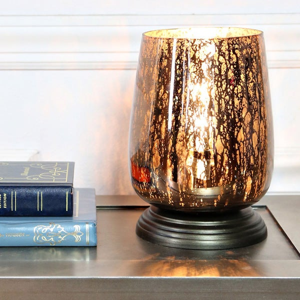 River of Goods 7.9-inch Taupe Handblown Mercury Glass Uplight Accent Table Lamp