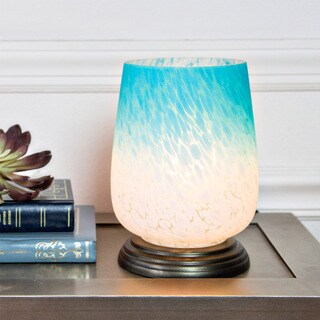 River of Goods Blue and White Ombre Hand-painted Handblown Glass 7.9-inch High Uplight Accent Table Lamp