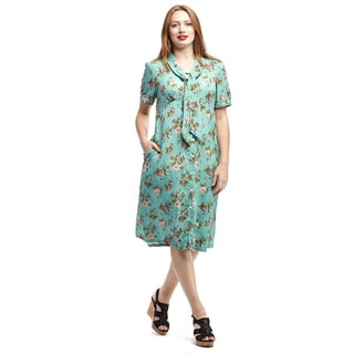 La Cera Women's Blue Rayon Short-sleeve Tie-neck Button-front Dress