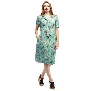 La Cera Women's Blue Rayon Short-sleeve Tie-neck Button-front Dress