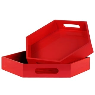 Urban Trends Collection Red Wood Hexagonal Serving Tray (Set of 2)