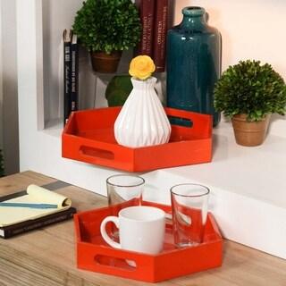 UTC32353: Wood Hexagonal Serving Tray with Cutout Handles Set of Two Coated Finish Orange