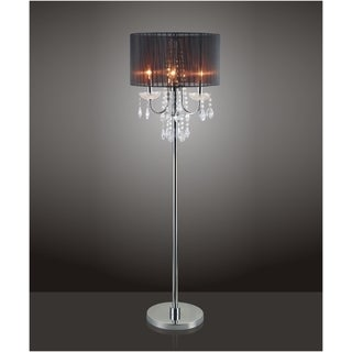 QMax Black Chrome Crystal Inspired 3-Bulb 62.5-inch Floor Lamp