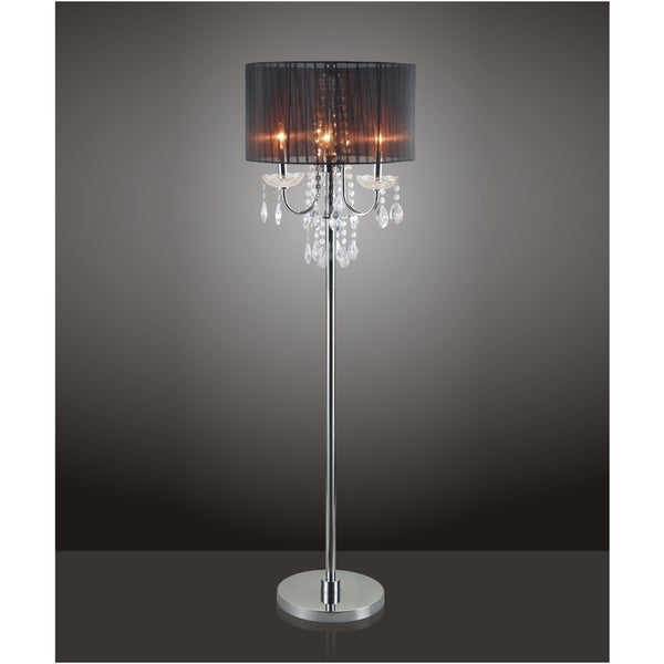 Shop qmax black chrome crystal inspired 3 bulb 625 inch floor lamp qmax black chrome crystal inspired 3 bulb 625 inch floor lamp aloadofball Choice Image