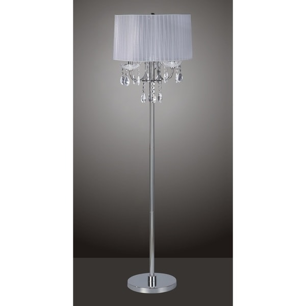 QMax Chrome Crystal-inspired White Metal and Fabric 62.5-inch 3-light Floor Lamp