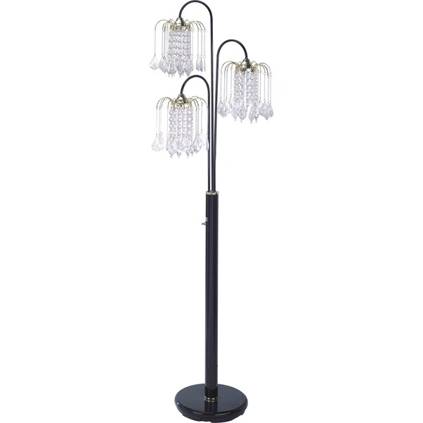 QMax Black Metal and Faux Crystal 63-inch 3-light Adjustable Floor Lamp