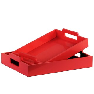Urban Trends Collection Coated Red Finish Wood Rectangular Serving Tray with Cutout Handles (Set of 2)